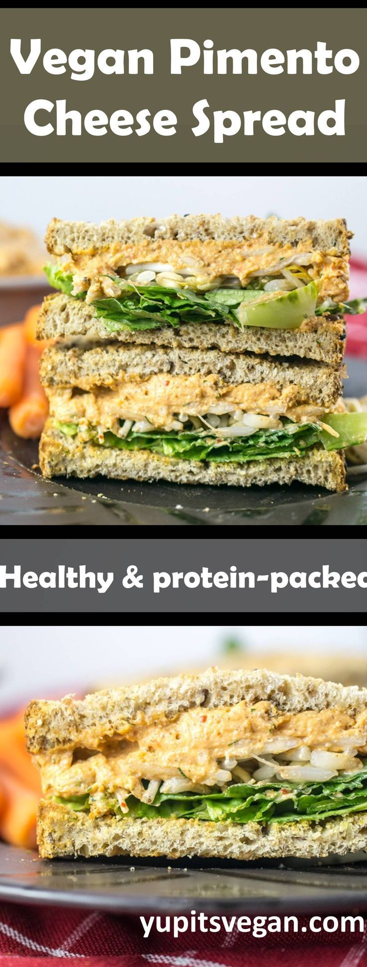 Vegan Pimento Cheese Spread Sandwiches | Yup, it's Vegan. Creamy pimento-cheese style vegan spread made from healthy whole foods, plant-based ingredients. High-protein from tofu or white beans, umami flavor from almond butter and miso, and roasted red peppers for some spiciness. Ready in under 30 minutes.