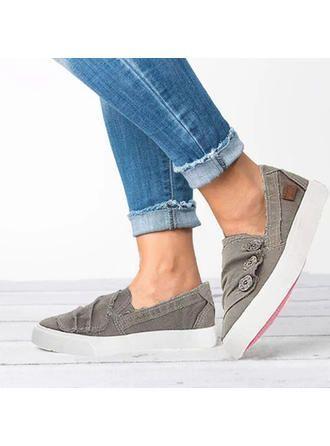 VERYVOGA Frauen Flache Schuhe Flascher Absatz Leinwand Knopf Flache Schuhe. #VER…