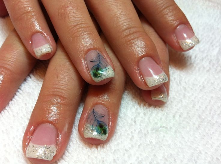 peacock nail designs | with tags feathers french tip gel nails glitter nail design peacock ...