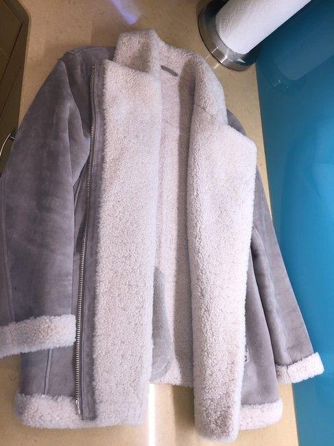 Reiss Shearling Grey Aviator Jacket Modern Leather Fur Coat