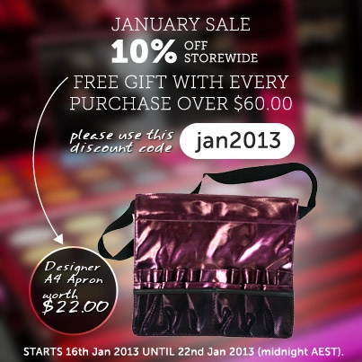 A new sale has arrived! Until the January 22 2013, use the code - jan2013 and get 10% off our entire online stock! And with every purchase over $60.00, you will also get a free Designer Apron A4!