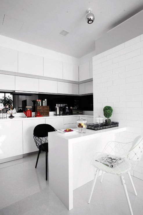 Black And White Kitchen For A Small Space | Singapore Shoebox Unit Designed  By The Interarch Part 49