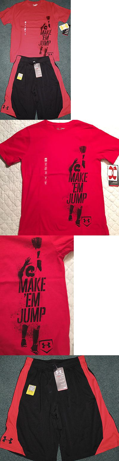 Outfits and Sets 156790: Nwt Boys Under Armour L Red Black Make Em Jump Baseball Shorts Set Ylg -> BUY IT NOW ONLY: $44.99 on eBay!