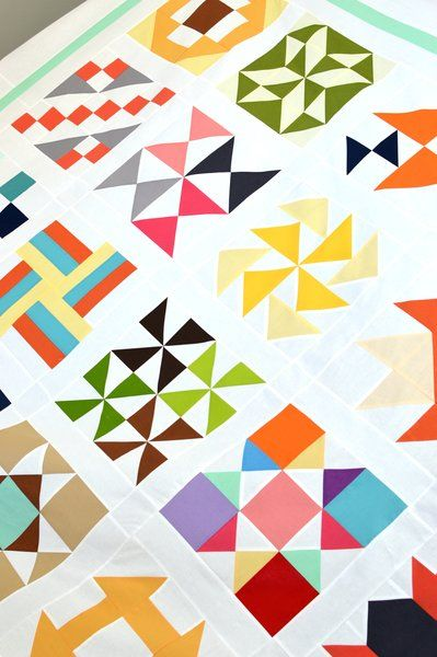 Riley Blake Designs Blog: TBT Modern: Quilt Construction // Assembling our Modern Sampler Quilt Blocks #iloverileyblake #tbtmodern #rileyblakedesigns