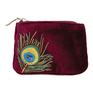 This is my peacock coin purse with a delicate hand embroidered peacock feather design. I have used metallic gold thread and purple sequins to give it that extra something!