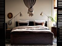 Bedroom Furniture - Beds, Mattresses & Inspiration - IKEA - love the lamps and the knot in the sheet concept.