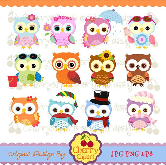 Holiday and Season Owls Digital Clipart Set 1 for by Cherryclipart, $4.50