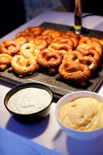 What better to go with the chilled beer at your wedding than dolling out gourmet bar snacks like piping hot pretzels!