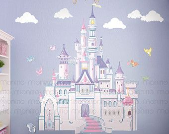 Disney Princess Castle with Colorful Birds and Squirrel-Large by Monitto | Etsy