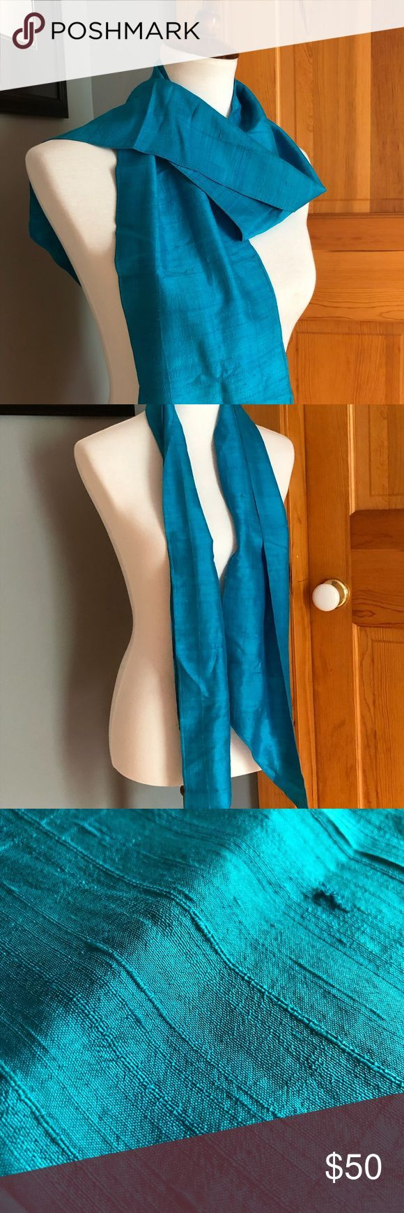 "Vintage Blue Dupioni Silk Scarf 68"" Elegant vintage 60's blue scarf with tons of the kind of texture only real Dupioni silk gives. Wonderful aroun"