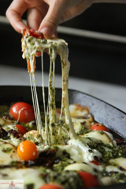 Hot Caprese Dip by Heather Christo #tailgating #stretchypants
