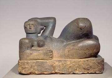 Henry Moore, Reclining Figure, 1929.  Leeds Art Gallery, U.K.  One of Moore's earliest sculptures, it echoes his interest in pre-Columbian Mexico's Toltec and Mayan Chac Mool figures.  The reclining figure was to become Moore's most frequently explored theme, revisited hundreds of times over the following 60 years before the artist's death in 1986.