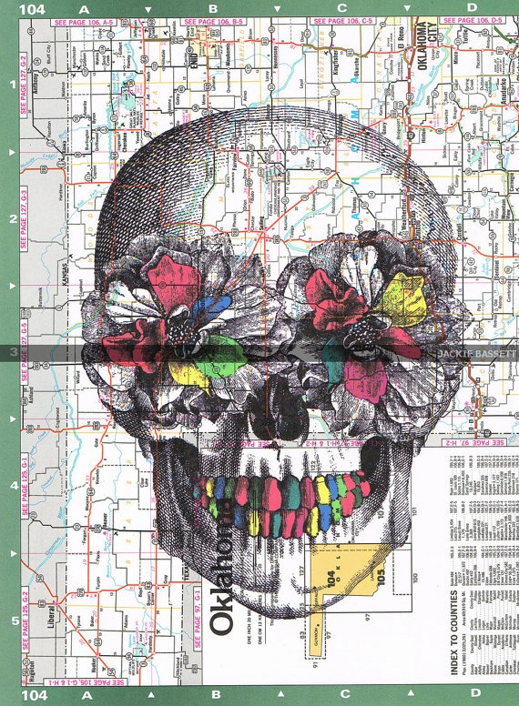 Skull,Map.Peonies.Flowers.Colourful.Collage.Atlas.Page Print,home/deco.affordable,art.Fathers day.mom.dad