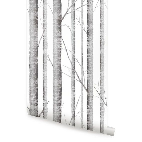 Birch Tree Peel & Stick Fabric Wallpaper by AccentuWall on Etsy