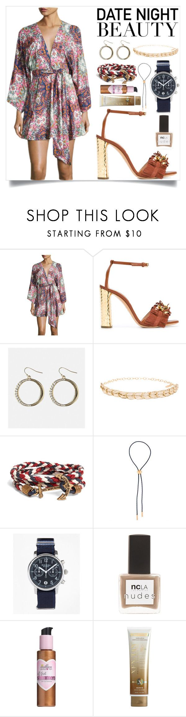 """Date night beauty"" by camry-brynn ❤ liked on Polyvore featuring Yumi Kim, Casadei, Avenue, Ettika, Brooks Brothers, Northskull, ncLA, Million Dollar Tan and Xen-Tan"