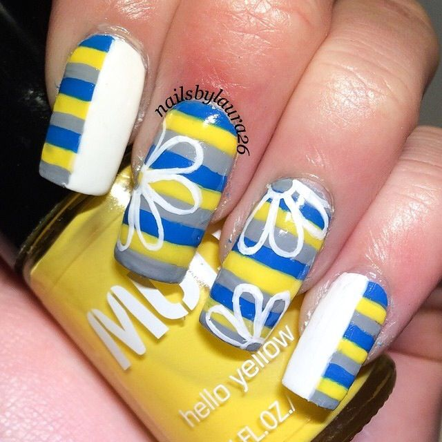 Yellow, Grey, and Blue Stripes with White Flowers Nail Art