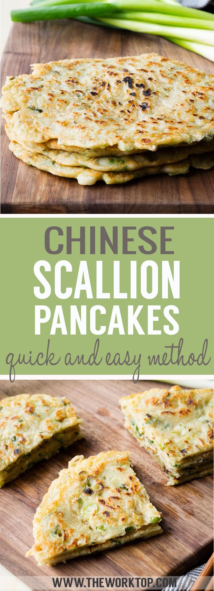 Quick Chinese Scallion Pancakes (Vegan) - Same delicious taste as a traditional Chinese green onion pancake, but get these on the stove top within 5 mins. Recipe from www.theworktop.com. #asianbreakfast #savourypancakes #scallionpancakes