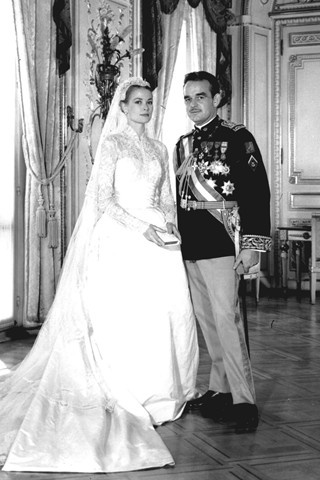 Princess Grace Kelly and the Prince of Monaco on their wedding day 1956