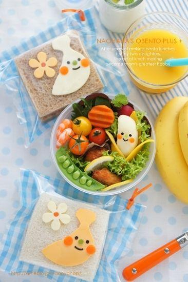 【掲載】バナナキャラのサンドイッチ&マッシュポテトのお弁当++ | naohaha's obento*