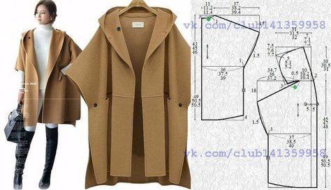Пальто-пончо прямого силуэта, без подклада, с капюшоном и короткими цельнокроеными рукавами, выкройка на размеры 40/42, 44, 46/48 (рос.). #простыевыкройки #простыевещи #шитье #пальто #пальтопончо #выкройка