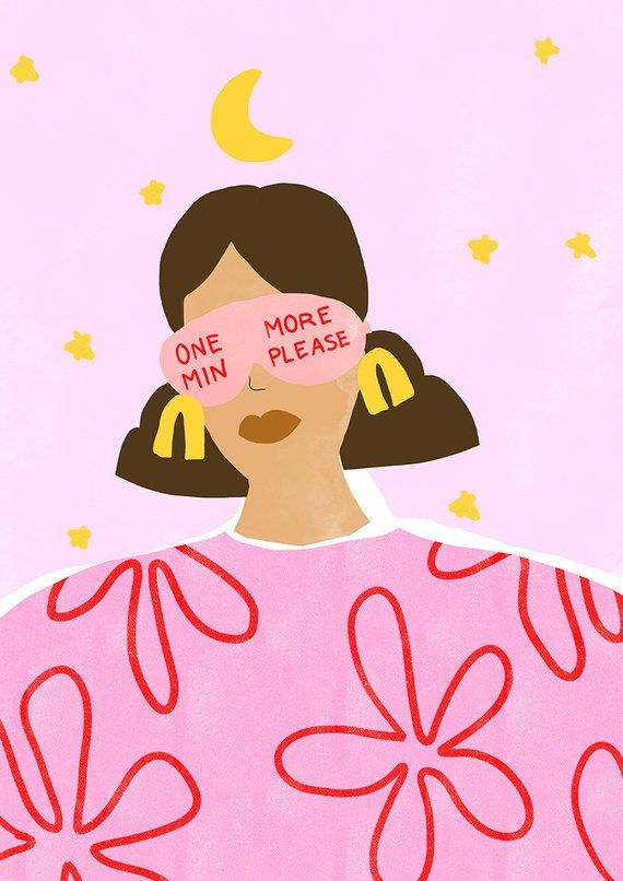 Sleepy Head A4 and A3 artwork print • Sleep Masks Pink Illustration • One Extra minute Please • Candy Goals • Sleeping Artwork Print • Monday