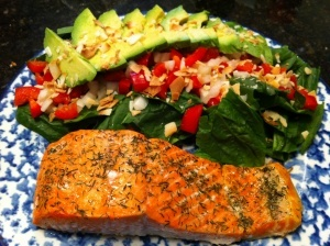 baked salmon lemon dill, spinach salad, and baked plantains
