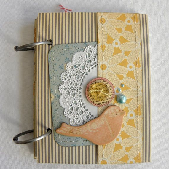 Journal Decorative Paper Hand Stamped Heat by KnitOneScrapToo, $25.00