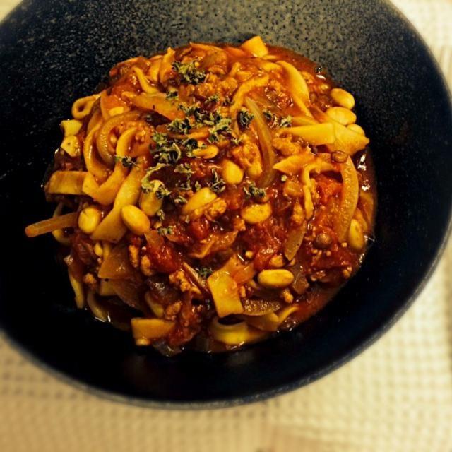 植物性100%、お肉や魚介類、卵も乳もハチミツも使っていません(*^o^*) - 2件のもぐもぐ - ビーガンのパスタボロネーゼ、トマトの大豆ミートソース by japananimal28