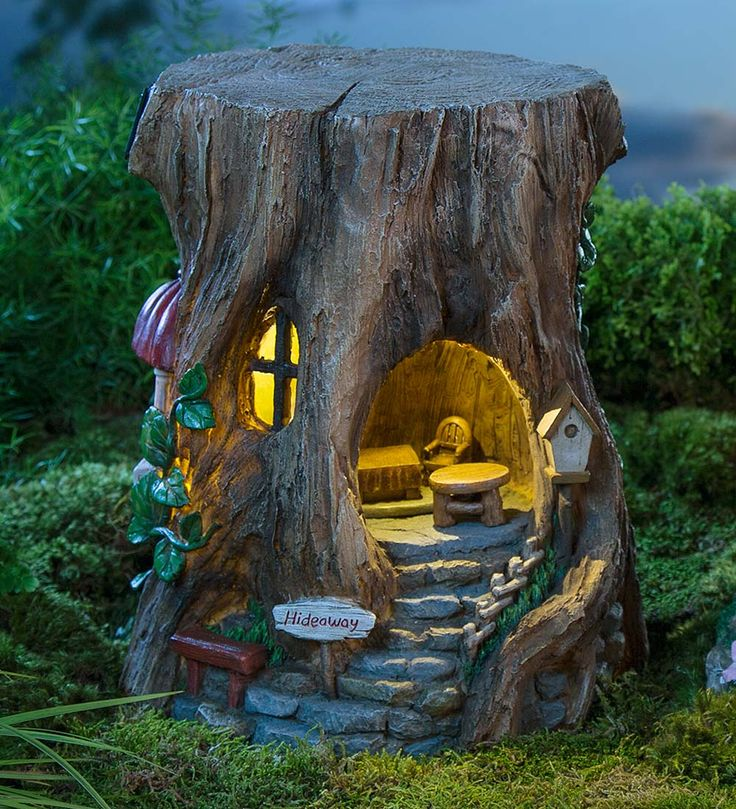 Miniature Fairy Garden Solar Staircase Stump House | Miniature Fairy Gardens | Fairy house, fairy home, tree stump fairy house, unique fairy house.