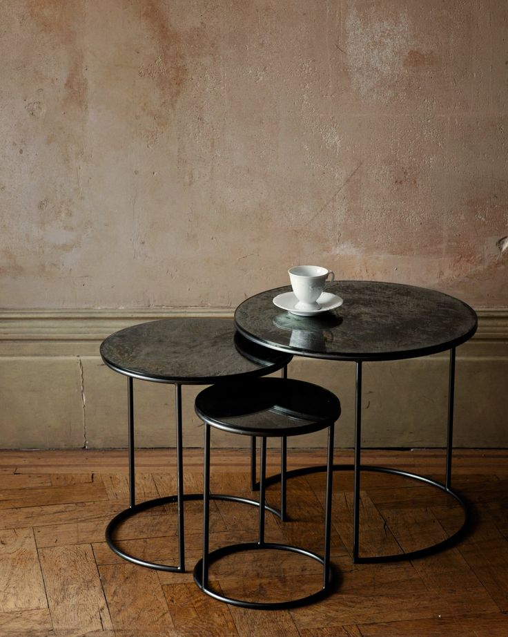 Side Tables With Mercury Glass Top And Steel Frame Moon Nest Of Three From Ochre Design