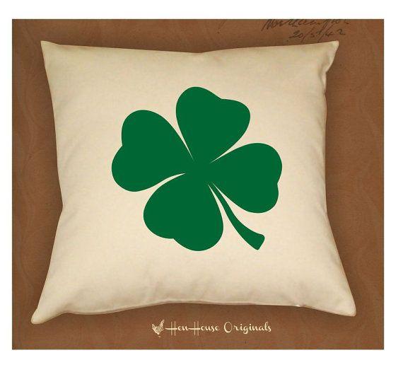 Saint Patricks Day Four Leaf Clover Pillow by henhouseoriginals, $24.00