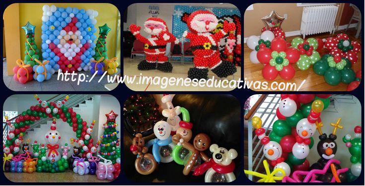 "GLOBOFLEXIA : Estupenda colección de ideas para decorar con globos para niños ""NAVIDAD"""