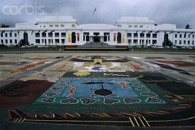 Aboriginal Chalk Drawing and Old Parliament House