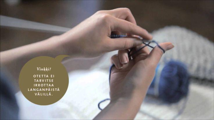Video, jossa näytetään,miten vasenkätinen luo silmukat