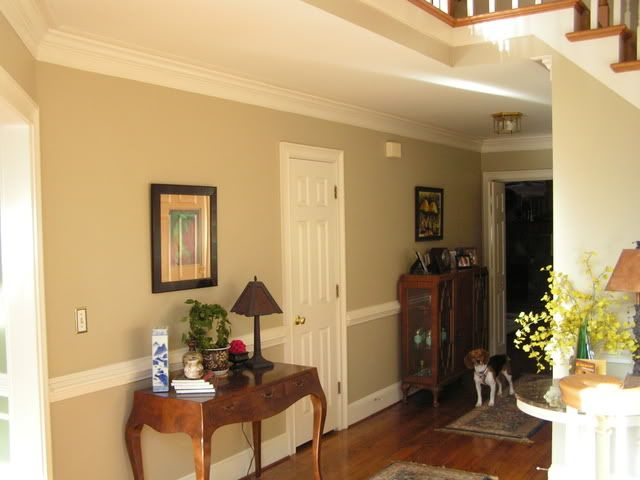 "Den/hallway paint: ""Bennington Grey"" by Benjamin Moore"