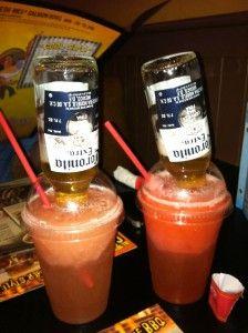 Margarita + Corona + Slurpee = Mexican Bulldog Well, that's their idea of fun. Strawberry lemonade slurpee, + mike's hard lemonade + shot of the liquor of your choice =  best drink everrr.