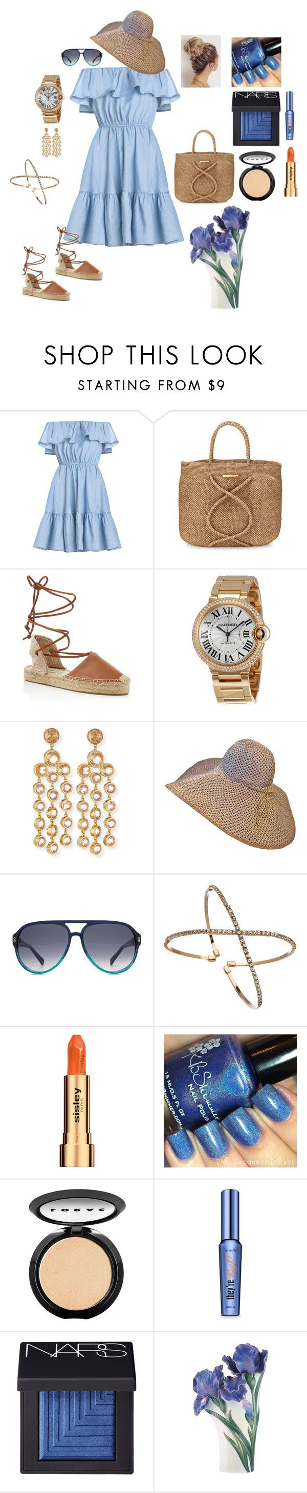 """""""Blue Sky"""" by glamoriffica ❤ liked on Polyvore featuring ViX, Soludos, Cartier, Kate Spade, HOOK LDN, Blu Bijoux, Sisley, LORAC, Benefit and NARS Cosmetics"""