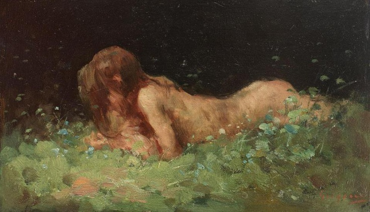 "Nicolae Grigorescu, (Romanian painter) ""Nymph in the grass"""