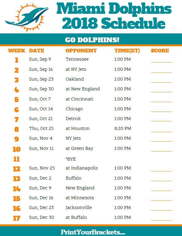Printable 2018 Miami Dolphins Football Schedule Nflschedule Nfl