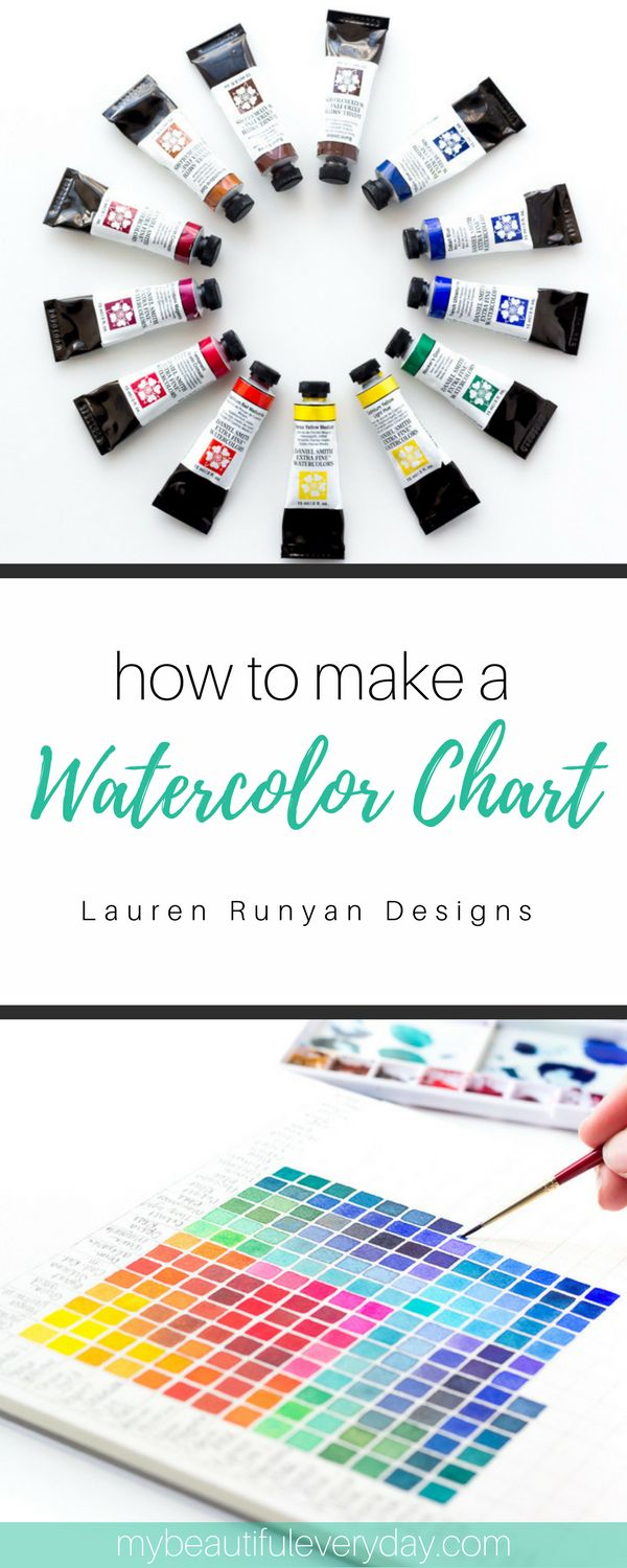 How to Make A Watercolor Chart - My Beautiful Everyday   Lauren Runyan Designs #colorchart #watercolor #watercolorchart