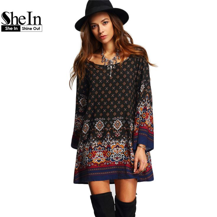 SheIn High Quality Female Summer Style Dresses Multicolor Scoop Neck Bell Long Sleeve Vintage Print Shift Short Dress