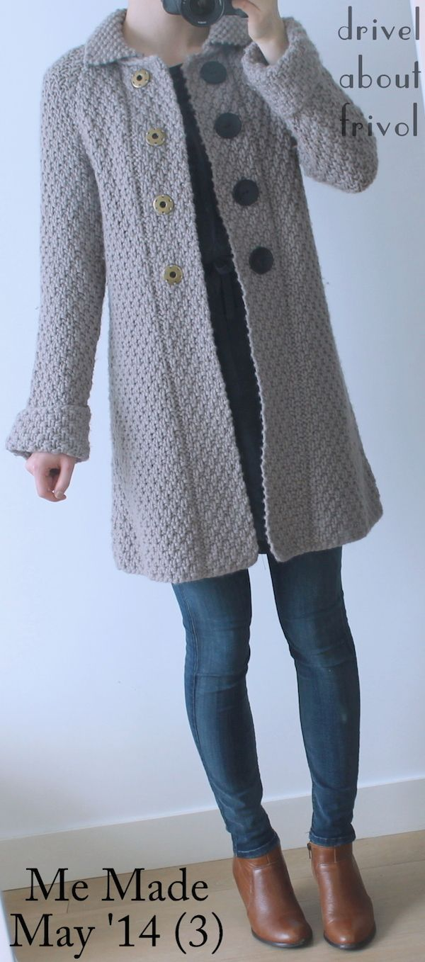 #mmmay14 Me Made May '14 (3) merino sweater coat (Rowan Big Wool, Kim Hargreaves' 'Holt' pattern, modified) for a sudden cold snap