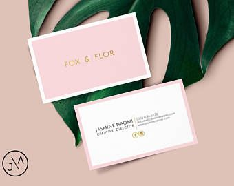 Business Card Design Blush Pink And Gold Template Small Business Business Business I Business Card Minimalist Pink Business Card Business Card Inspiration