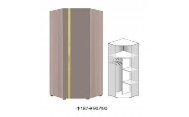 Rohová šatní skříň Party P1a - jasan+trufla/zelená - 3465