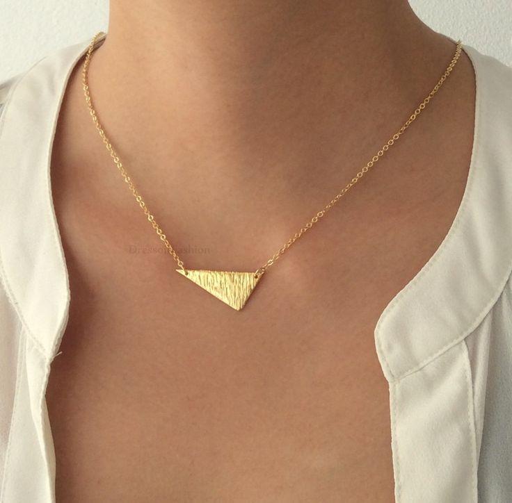 modern goud cadeau driehoek ketting trendy elegant kort feest