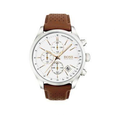 1513475 Ανδρικό quartz ρολόι HUGO BOSS Grand Prix με λευκό καντράν & καφέ δερμάτινο λουρί | Ανδρικά ρολόγια BOSS ΤΣΑΛΔΑΡΗΣ στο Χαλάνδρι #Boss #GrandPrix #λουρι #ανδρικο #ρολοι
