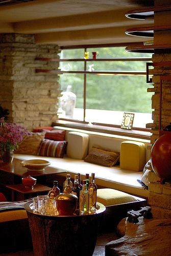 The main living space at Fallingwater - Frank Lloyd Wright