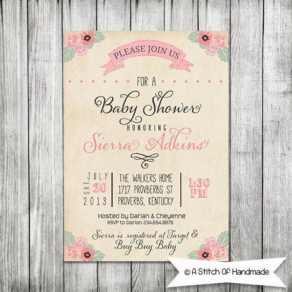 Elegant Baby Shower Invite - 5x7 Printable. Maybe change it for a wedding/bridal shower invite..