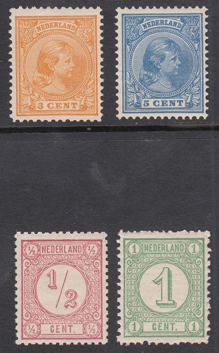 Nederland 1876/1891 - Cijfer (oude druk) en Prinses Wilhelmina 'Hangend haar' - NVPH 30, 31, 34, 35