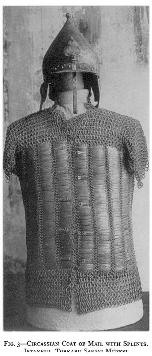 Circassian mail and plate shirt and chichak type helmet, Topkapı Palace Museum.